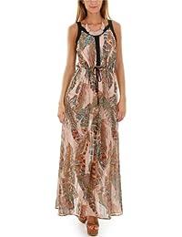 Maxi robe à imprimé plume