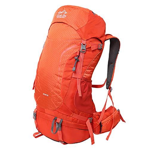 METTE Outdoor Wanderrucksack, Camping Wasserdichter Rucksack, Höhlentragesystem, Bis zu 50L Laderaum für Reisen & Camping, Frauen,Orange -