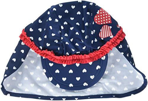Playshoes Baby-Mädchen UV-Schutz Herzchen Mütze, Blau (Marine 11), 49 (Herstellergröße: 49cm)