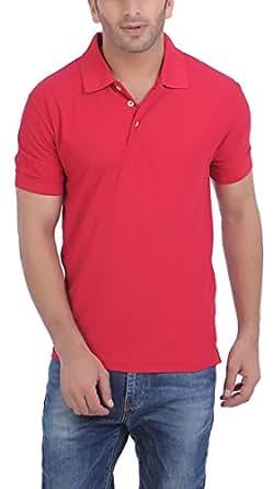 American Crew Men's Polo Collar Berry Pink T-Shirt - L (AC136A-L)