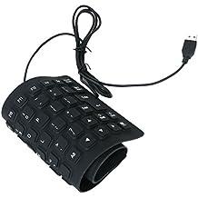 85keys Mini PC Clavier Silicone Etanche USB Ordinateur Portable Noir
