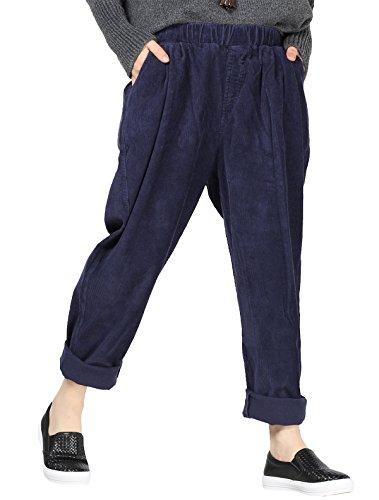 Vogstyle Damen Herbst/Winter Beiläufige Baumwoll Cordhose mit Taschen Medium Style 1-Blue