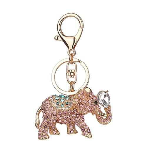 Windy5 Anillo titular de la clave llavero del coche del elefante d embutida Rhinestone llavero de aleación de cristal Animal