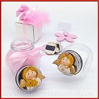 Tarro de cristal con tapa de metal, decorado con cinta y resina de color en forma de ángel con osito dorado. Bombonera para nacimientos, bautizos, ...