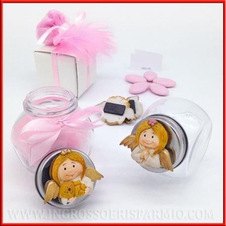 Bocal en verre avec un bouchon en métal, décoré avec un ruban et un aimant en résine colorée en forme de petit ange avec un ourson doré - Idéal comme bonbonnière, naissance, baptême, anniversaire, communion kit 24 pz. nastrino e confetti rosa