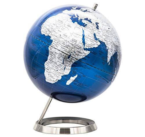EXERZ 30cm blau metallic Globus mit einem Rostfreier Stahl Verpackung in hochwertiger Kraftbox, ideal zum Verschenken - in Englischer Sprache - Metallisches Blau