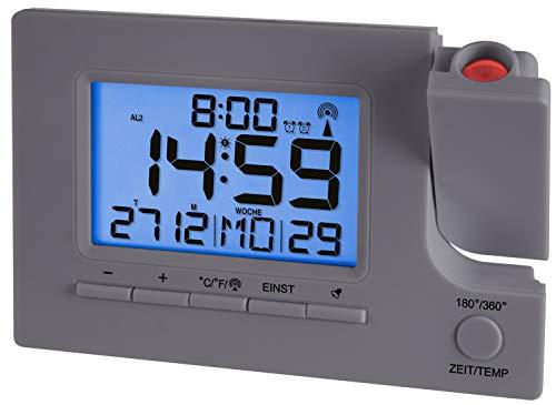 Krippl-Watches Funkprojektionswecker mit Temperaturanzeige, LAUTLOS