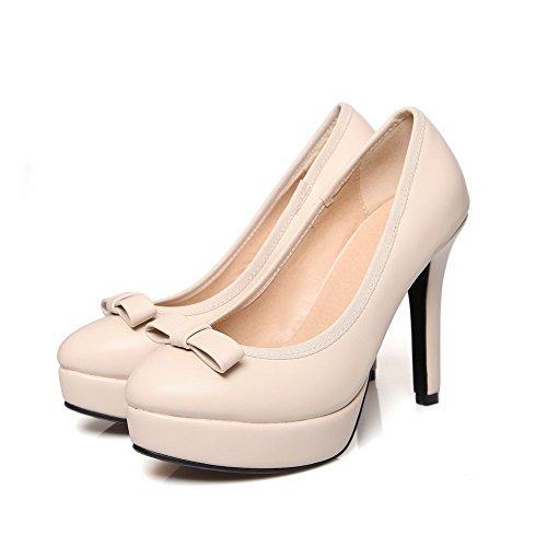 AgooLar Femme Stylet Couleur Unie Tire Matière Mélangee Rond Chaussures Légeres Beige