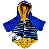 The DDS Store Coat for Dogs Cats Clothes Puppy Warm Hoodie Cats Jumpsuit Soft Cozy Pet Jacket (10 Inch, Multi Color Blue…