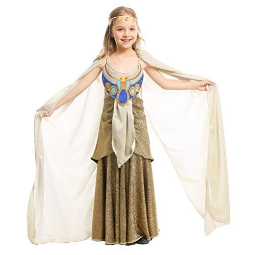 LOLANTA Mädchen Deluxe Königin von Ägypten Cleopatra Kostüm Halloween Kostüm befestigen Kopfbedeckung (5-6 Jahre) (Kaiserin Der Prinzessin Kostüme)