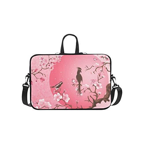 Kirschblütenbaum Zwei Vogel Aktentasche Laptoptasche Messenger Schulter Arbeitstasche Crossbody Handtasche Für Geschäftsreisen