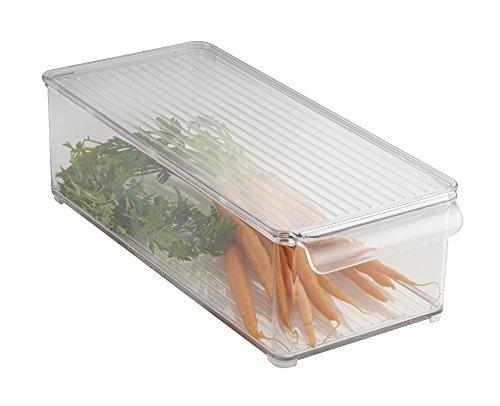 mDesign contenitore per alimenti da frigo in plastica trasparente – ideale contenitore con coperchio per frigo o freezer – portaoggetti frigo per una casa super ordinata