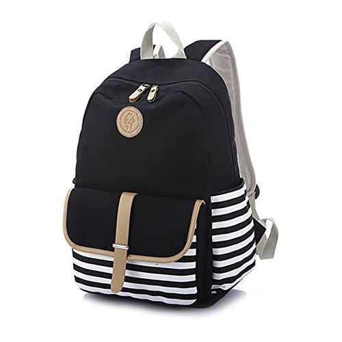 Preisvergleich Produktbild Rucksack Damen Mädchen Streifen Canvas Schulrucksack Reisetasche Casual Daypacks für Universität Outdoor Freizeit 44 x 35 x 16cm, schwarz