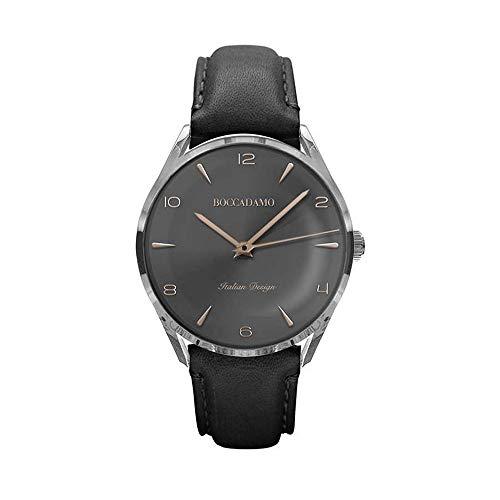 Boccadamo Orologio da Uomo Vintage con quadrante nero effetto metallizzato e cinturino in vera pelle nera.