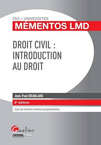 Mmentos LMD Droit civil : Indroduction au droit,