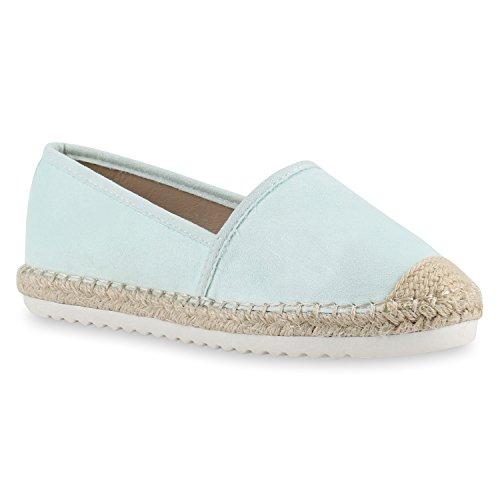Damen Espadrilles | Metallic Slipper |Bast Profilsohle Flats | Freizeit Schuhe | Glitzer Prints Spitze Hellgrün Bast