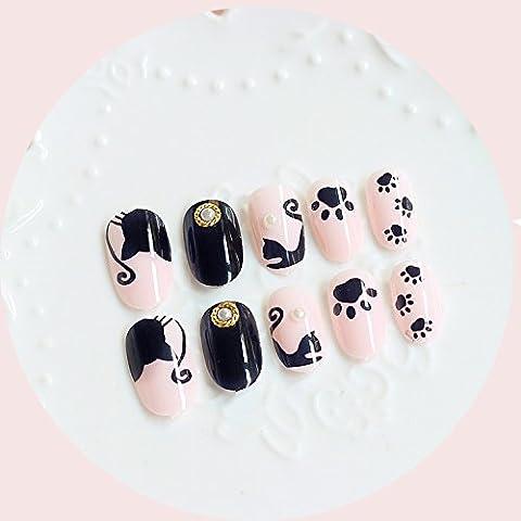24pcs dessin de faux ongles ovale ligne Rivet Pearl