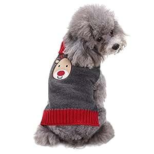 LvRao Cane Gatto Collo alto Maglione Natale Renna Animale Domestico Costume Maglieria Pullover (Grigio, L)