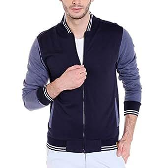 Campus Sutra Men's Quilted Cotton Jacket (AZZW17_HVAR_M_PLN_BUDN_AZ_Blue and Denim_Small)