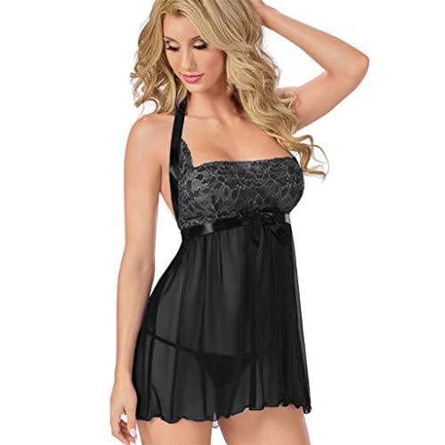 Elospy Crotchless Bodysuit Lace Nightie Backless Kleid Erotische Dessous für Frauen für Sexy Plus Größe Spitze Negligee Vorne Offen V Ausschnitt Nachtwäsche Nachthemd Lingerie Babydoll -