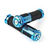 Ocamo Universal de Goma Motocicleta 7/8 Pulgadas puños del Manillar de la Moto Throttle Handle Hand Bar Ends Apto para Honda Sports Bike Azul