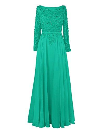 Dressystar Robe de soirée/Cérémonie longue, Manches Longues, appliques, en tulle,organza Vert