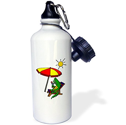 3dRose wb_196272_1 Funny Alligator Sipping Drink at The Beach Under Umbrella Sports Water Bottle, 21 oz, Brown