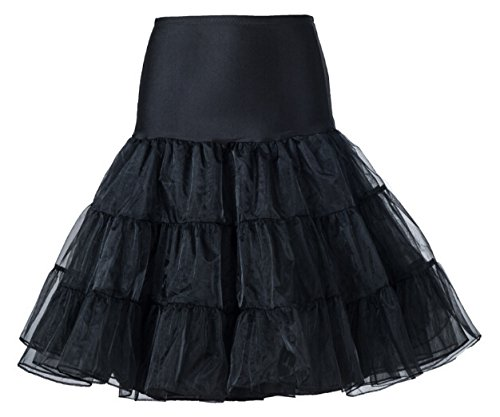26 Inch Retro 50s/80s Black Petticoat Tutu Skirt. Ideal for Madonna Fancy Dress