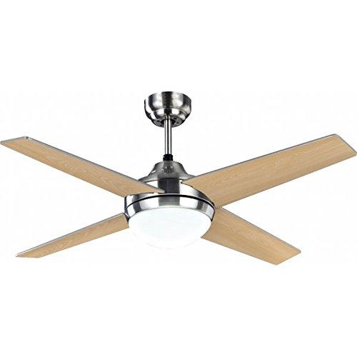 Ventilador de techo modelo EOLO con luz, control remoto, acabado Niquel, 4 palas Plata-Haya 112 cm...