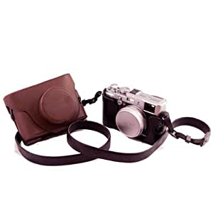 Un Etui caisson à deux volets en cuir pour appareils photo numériques Fuji FujiFilm Finepix X10 X20(Marron)