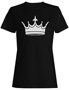 Novedad divertida del arte de la reina del rey de la corona camiseta de las mujeres a572f