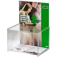Sigel VA150 - Buzón de sugerencias, orificio tamao A4, acrílico transparente, 22.5 x 30 x 17 cm