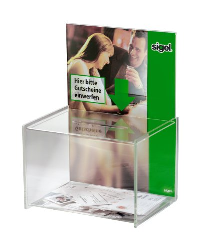 Sigel VA150 Aktionsbox Losbox, mit Einstecktafel für A4-Papier, glasklar Acryl, 22,5 x 30 x 17 cm