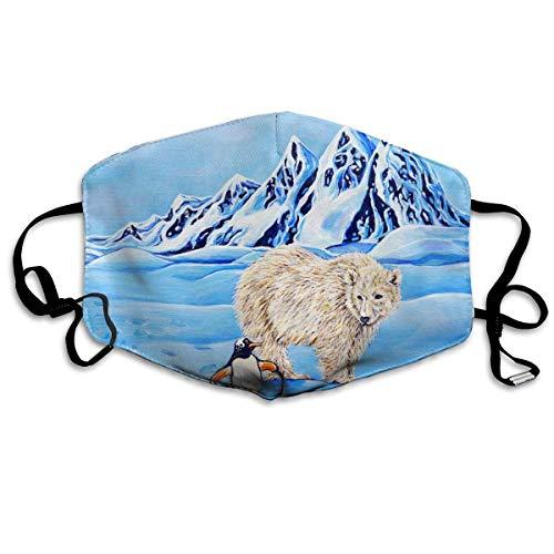 Vbnbvn Unisex Mundmaske,Wiederverwendbar Anti Staub Schutzhülle,Cute Penguin and Bear Art Painting Adult Mouth-Masks Washable 100{d7ea4f55a872ca88bd6df0b5e9ab379707abda8ce21cdff1194efb077ab42438} Polyester Comfortable Breathable Health Anti-Dust Half Face Masks