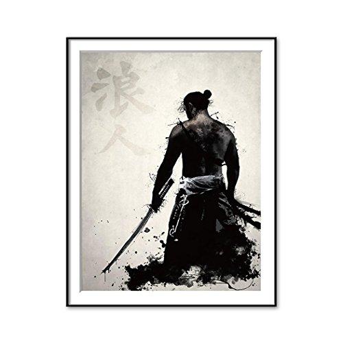 Lienzo decorativo para pared de inyección de tinta japonesa Samurai, color A