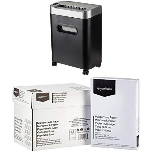 AmazonBasics Aktenvernichter, 7-8-Blatt, Partikelschnitt, mit herausziehbarem Auffangbehälter für Papier/CDs/Kreditkarten  mit AmazonBasics Druckerpapier 5x500 Blatt