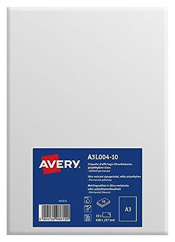 Avery 10 Etiquettes d'Affichage Format A3 (420x297mm) - Autocollant Permanent - Impression Laser, Jet d'Encre - Polyéthylène Blanc