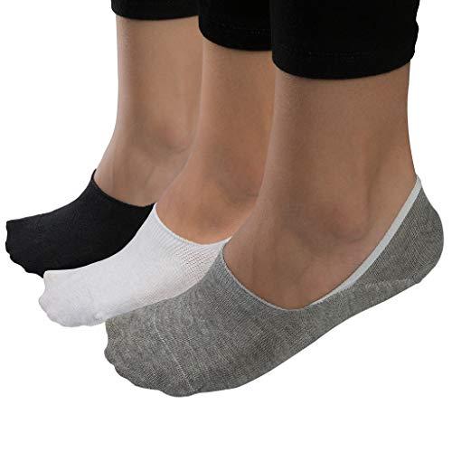 6x Paar | Herren & Damen Unsichtbare Sneaker Socken Grau/Schwarz/Weiß Sortiert | Premium-Baumwolle & Extra Großes Silikonpad Verhindert Verrutschen| S 4-6 UK / 35-38 EU
