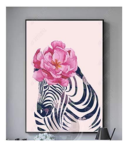 ZSHSCL Lienzo Creativo Pintura Moderna Decoración De Pared Sala De Estar Imprimir Foto Flor De Rosa Patrón De Cebra Decoración del Hogar Poster, 60X80 Cm