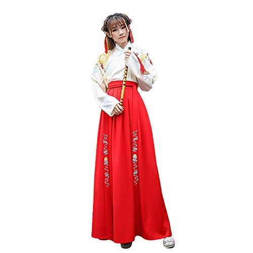 Dragon Kostüm Dance - YCWY Womens bestickte Kleid, wunderschöne chinesische Vintage Hanfu für Frauen Langarm für Party, Foto-Shooting Kleidung Cosplay Dance Kostüme Gold Dragon Printing,L