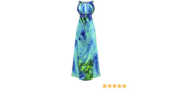Angel-fashions Womens Empire Peplum Bead Chiffon Pleated Lace Up Printed Dress XXLarge: Amazon.co.uk: Clothing