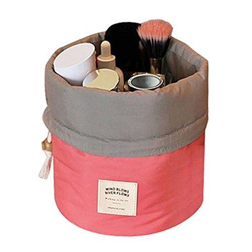 DELEY Reise Kit Drawstring Zylindrische Cosmetic Toiletry Bag Make Up Pinsel Schmuck Aufbewahrungstasche Rot