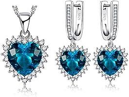 BESTPICKS Swarovski Elements Blue Crystal 925 Sterling Silver Pendant Necklace and Earrings for Female Women Ladies...