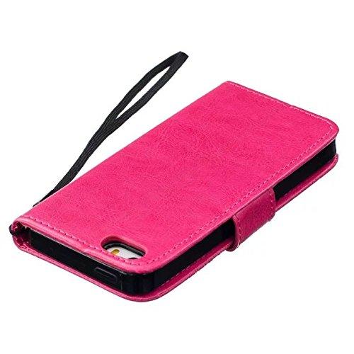 iPhone Case Cover Haute qualité Premium PU Housse en cuir Couverture Solid Dandelion Embossing Wallet Stand Case Couverture pour IPhone 5 5S SE ( Color : Gold , Size : IPhone 5S SE ) Rose