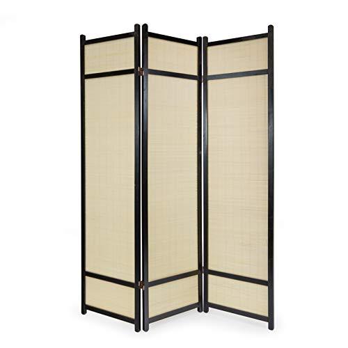 Homestyle4u 385 Paravent 3 teilig Raumteiler 3 fach Holz Schwarz Shoji Bambus Trennwand Spanische Wand Sichtschutz faltbar