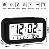 ADONAI Smart Digital Alarm Clock Battery Operated with Temperature/Snooze, Black, Standard Size