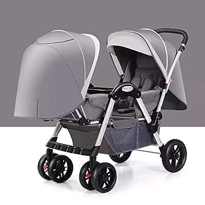 Bykle Cochecito Doble, Cochecito de bebé Doble tándem con Respaldo Ajustable, reposapiés, Cinturones de Seguridad de 5 Puntos, diseño Plegable para un fácil Transporte