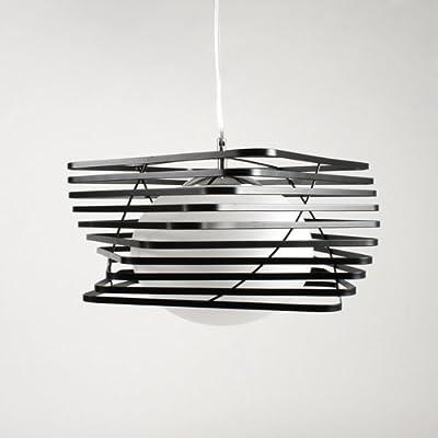 Hängeleuchte Deckenleuchte Pendelleuchte Deckenlampe Opalglas Weiß Milchglas lampe Leuchte Schwarze Streifen von Design61 von Design61 auf Lampenhans.de