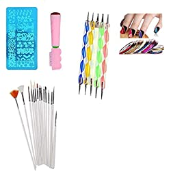 FOK 33 Pc Combo Set Professional DIY Nail Art Decoration Kit 1Pc Stamping Kit,15 Pc Nail brush Set,5 Pc Dotting Tool Set And 10 Pc Stripping Roll Tape-Random Design