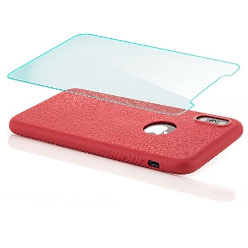 iPhone X Coque + Verre Trempé zanasta Etui Silicone Ultra Mince Case Housse de Protection Souple Touché Doux TPU Structure Design Bleu Rouge
